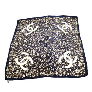 Chanel CHANEL Vintage CC Logos Stole Large Scarf Navy Silk Accessories