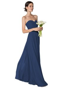 Joanna August Bridesmaid Wedding Navy Chiffon Classy Dress
