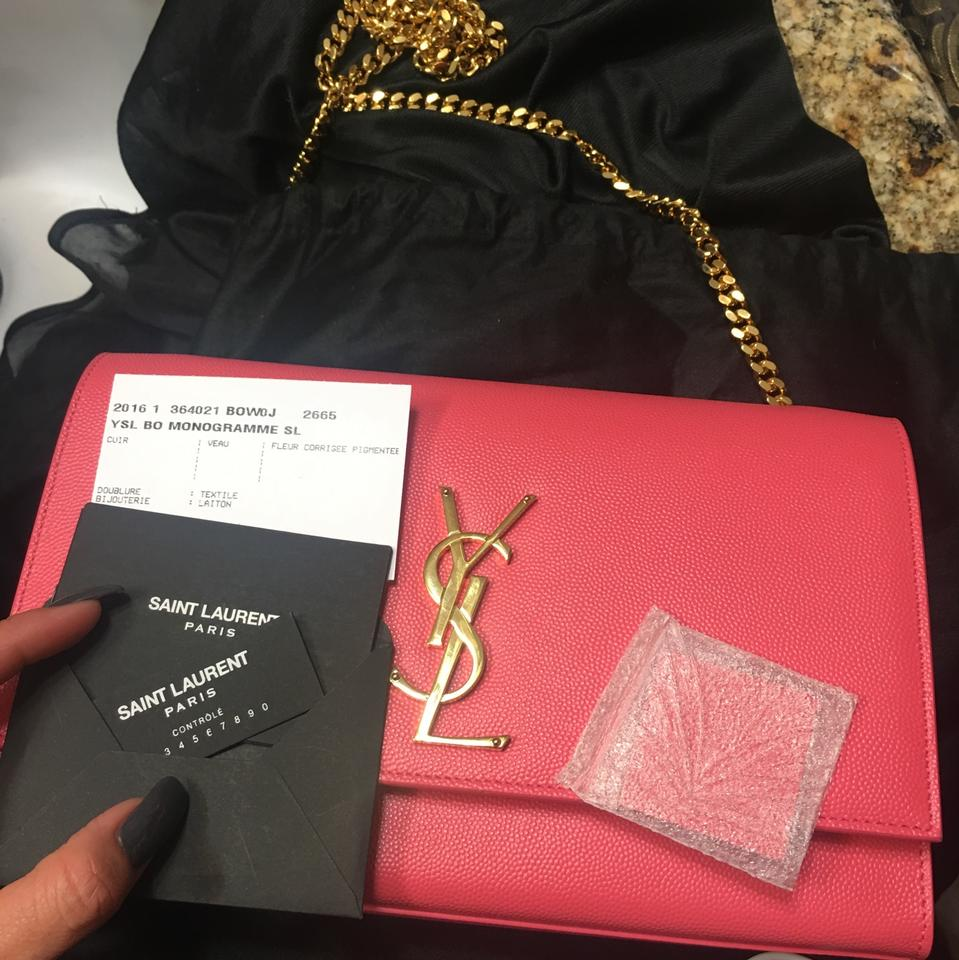 041f4ee8 Saint Laurent Ysl Chain Pink Leather Cross Body Bag