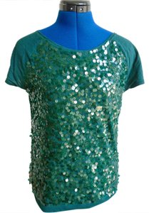 Ann Taylor LOFT Sequin T Shirt Green