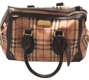 Burberry Satchel in Haymarket Check With Brown Leather Trim