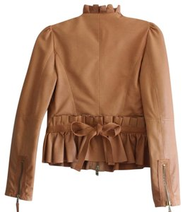 RED Valentino Leather Lambskin Peplum Tan Leather Jacket