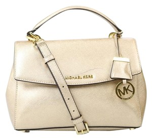 Michael Kors Safiano Leather Ava Satchel in Gold