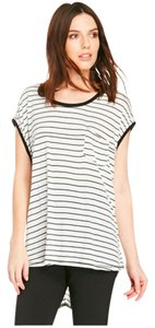 Somedays Lovin Stripes Oversized Tank T Shirt Black and White