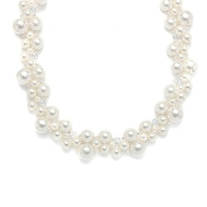Mariell Crystal & Ivory Pearl Bubbles Bridal Necklace 2113n