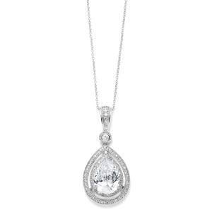 Mariell Bold Pear Shaped Pendant Cubic Zirconia Wedding Necklace 3518n