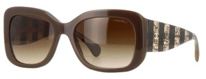 Chanel 5295 Signature Square Lace Tweed CC Oversized Classic Timeless Brown Opal Gradient