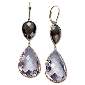 Macy's 14k Gold Pink Amethyst Smokey Quartz PearDrop Earrings