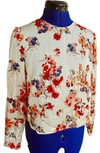 Zara Satin Top White Floral