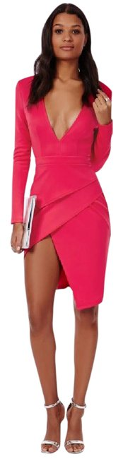Preload https://img-static.tradesy.com/item/19939883/missguided-pink-fuchsia-bodycon-peplum-plunging-mid-length-night-out-dress-size-6-s-0-3-650-650.jpg