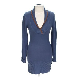 Derek Heart short dress Blue Knit Sweater Shawl Collar Trimmed Bodycon on Tradesy