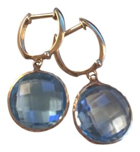 Costco Bezel Cut Blue Topaz Earrings