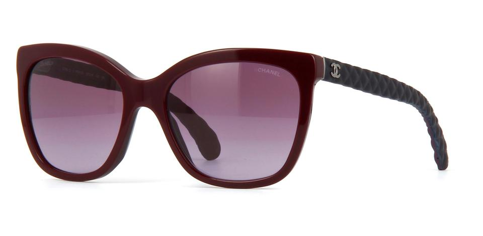 5ac83ca71b56 Chanel Burgundy Red Navy Blue 5288 Q Butterfly Cat Eye Cc Logo Quilted  Goatskin Leather Oversized Sunglasses