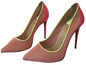 Christian Louboutin Pigalle Follies Lace Neon Yellow Neon Pink Pumps
