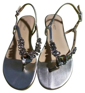 Nine West Metallic Silver w Stones Sandals