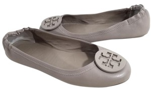 Tory Burch Travel Ballet Tonal Logo Rubber T Logo Medallion Folds Grey Flats