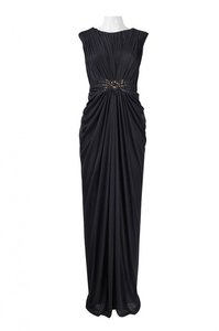Adrianna Papell Cap Sleeve Tulle Gown Navy Gown Ruched Waist Dress
