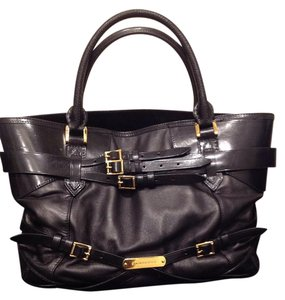 Burberry Leather Belted Tote in Black