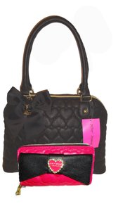 Betsey Johnson Quilted Heart Dome Wallet Satchel in black