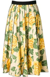 Marc Jacobs Pleats Paneled A-line Skirt Floral Yellow Print