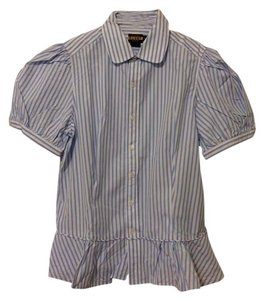 Ralph Lauren Rugby Rl Rugby Short Sleeve Short-sleeved Striped Striped Polo Rl Button Down Shirt Blue