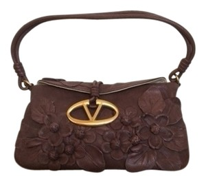 Valentino Leather Soft Applique chocolate brown Clutch