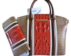 Brahmin Tri-texture Leather Satchel in Cabana Vertical Vineyard