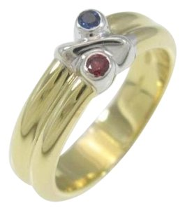 Tiffany & Co. Size 5, 18k Yellow & White Gold, Ruby, Blue Sapphire Ring