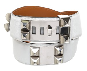 Hermès Hermes White Epsom and Gold Leather Chien CDC Belt (Size 80)