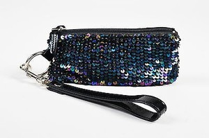 Dolce&Gabbana Patent Leather Trim Sequin Zippered Wristlet Black, Iridescent Clutch