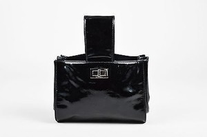 Chanel Shw Patent Leather Two Way Handbag Black Clutch