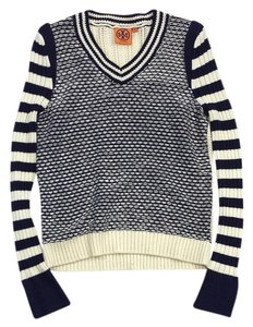 Tory Burch White Blue Striped Cotton Sweater