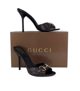 Gucci Brown Monogram Leather Horsebit Heels Sandals