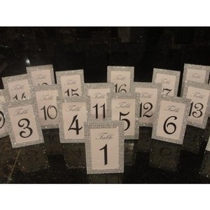 Lot Of 20 Silver Tone Bling Rhinestone Style Table Number / Photo Frame Wedding / Quinceanera / Shower Decoration Party