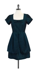 Nanette Lepore short dress Teal Black Neckline Bow on Tradesy