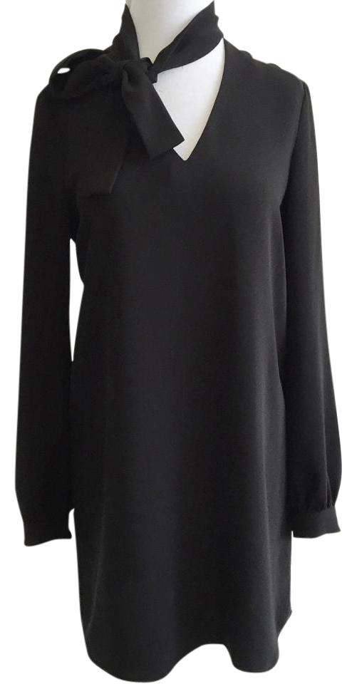 Clover Canyon Black Tie Neck Long Sleeve Loose Fit Flare Swing Knee