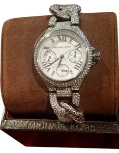 Michael Kors MICHAEL KORS SILVER TONE MINI CAMILLE PAVE GLITZ BLING CHAIN WATCH NEW