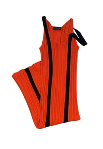 Sonia Rykiel Orange Black Cotton Ribbed Dress