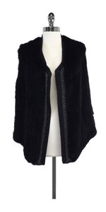 Vince Black Draped Rabbit Fur Vest