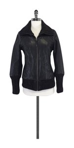 Mackage Black Leather Bomber Jacket