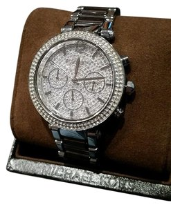 Michael Kors Michael Kors Silver tone Pave Parker Collection Bling Glitz Watch NEW