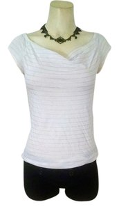 Calvin Klein Size Small Stretchy P1245 Top white black pin stripes