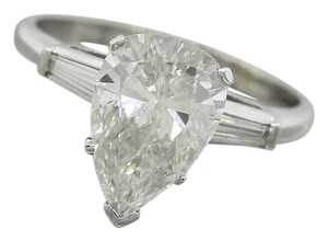 Ladies Modern Platinum Pear Brilliant Diamond Baguette Engagement Ring