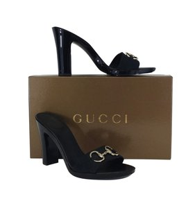 Gucci Black Monogram Heels Sandals