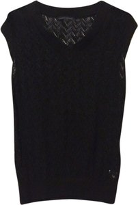 Banana Republic Black Summer Crochet Black Crochet Vest