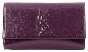Saint Laurent Leather Purple Clutch