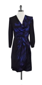 BCBGMAXAZRIA short dress Black & Blue Print Silk Cowl Neck on Tradesy