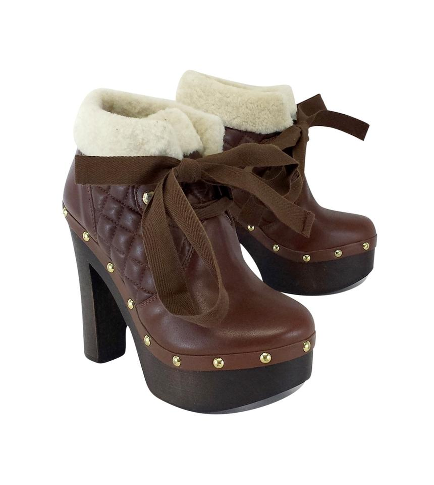 RED Valentino Brown Quilted Quilted Brown Leather Boots/Booties c57628