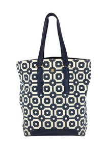 Tory Burch Cream & Blue Canvas Leather Tote