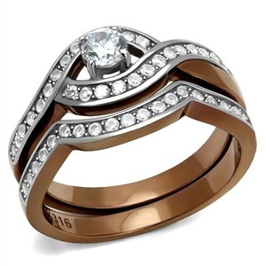 La Bella Rose Two Tone Stainless Steel Clear CZ Two Piece Ring Set - 08672